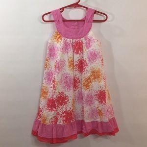 Girl 4T Pink White Cotton Ruffle Lined Dress